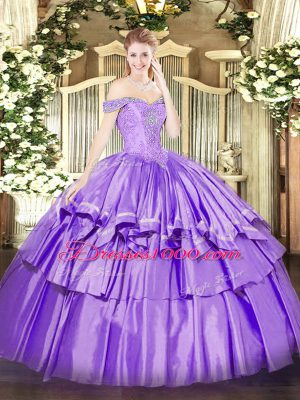 Custom Made Lavender Ball Gowns Off The Shoulder Sleeveless Organza and Taffeta Floor Length Lace Up Beading and Ruffled Layers Ball Gown Prom Dress