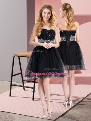 Free and Easy Black Party Dresses Prom and Party with Beading Sweetheart Sleeveless Lace Up