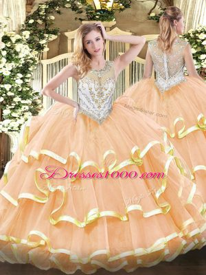 Great Floor Length Zipper Quinceanera Dress Peach for Military Ball and Sweet 16 and Quinceanera with Beading and Ruffled Layers