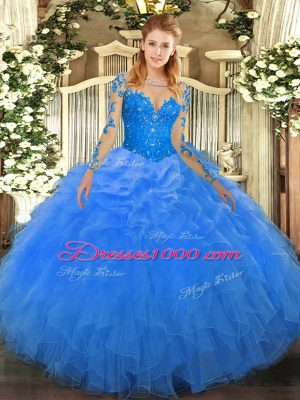 Inexpensive Blue Ball Gowns Scoop Long Sleeves Organza Floor Length Lace Up Lace and Ruffles Ball Gown Prom Dress