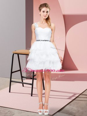 Low Price White A-line Beading and Ruffled Layers Party Dress for Toddlers Lace Up Organza Sleeveless Mini Length