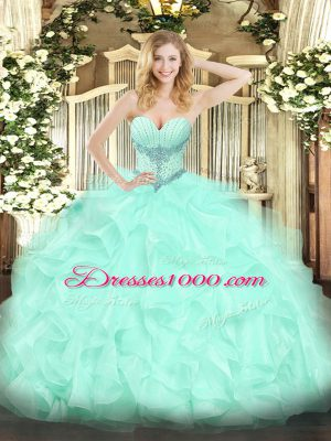 Exquisite Sweetheart Sleeveless Organza Quinceanera Dresses Beading and Ruffles Lace Up