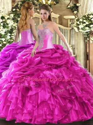 Classical Sweetheart Sleeveless Quinceanera Gowns Floor Length Beading and Ruffles and Pick Ups Hot Pink Organza