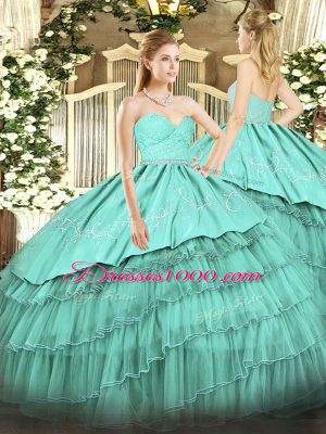 Custom Fit Organza and Taffeta Sweetheart Sleeveless Zipper Beading and Lace and Embroidery and Ruffled Layers Vestidos de Quinceanera in Turquoise