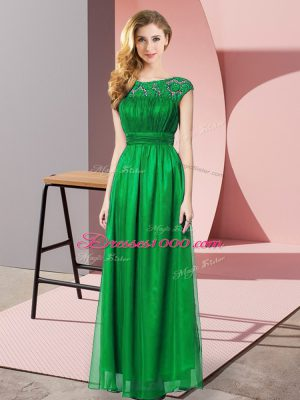 Simple Empire Casual Dresses Dark Green Scoop Tulle Sleeveless Floor Length Zipper