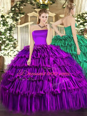 Decent Floor Length Purple Sweet 16 Dresses Strapless Sleeveless Zipper