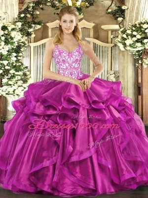 Beauteous Fuchsia Lace Up Straps Beading and Appliques and Ruffles 15th Birthday Dress Organza Sleeveless