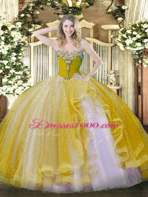 Clearance Sweetheart Sleeveless Sweet 16 Dresses Floor Length Beading and Ruffles Gold Tulle