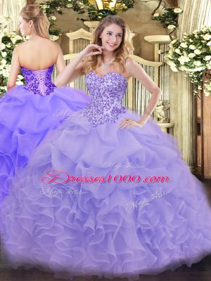 Most Popular Sleeveless Floor Length Appliques and Ruffles Lace Up 15 Quinceanera Dress with Lavender