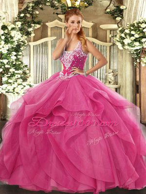 Fashion Hot Pink Sleeveless Beading and Ruffles Floor Length Quinceanera Gowns