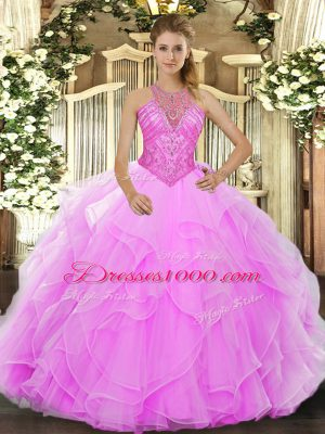Hot Selling Rose Pink Lace Up Quinceanera Gown Beading and Ruffles Sleeveless Floor Length