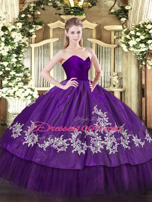 Traditional Organza and Taffeta Sleeveless Floor Length Quince Ball Gowns and Embroidery