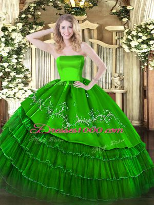 Spectacular Green Strapless Neckline Embroidery and Ruffled Layers Sweet 16 Dress Sleeveless Zipper