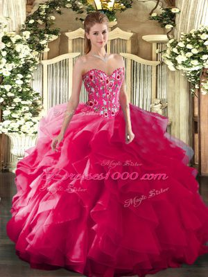 Clearance Sweetheart Sleeveless Quinceanera Gown Floor Length Embroidery Hot Pink Organza and Printed