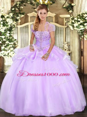 Dramatic Organza Strapless Sleeveless Lace Up Appliques Sweet 16 Dress in Lavender