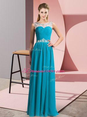 Fine Teal Chiffon Clasp Handle Prom Evening Gown Sleeveless Floor Length Beading