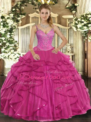 Hot Pink Ball Gowns V-neck Sleeveless Tulle Floor Length Lace Up Beading and Ruffles Vestidos de Quinceanera