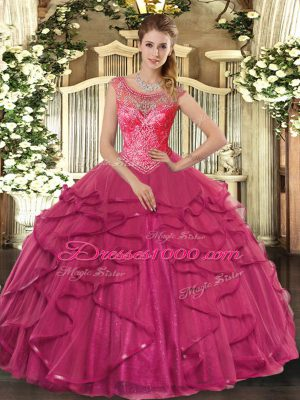 Top Selling Hot Pink Ball Gowns Beading and Ruffles Sweet 16 Dresses Lace Up Tulle Sleeveless Floor Length