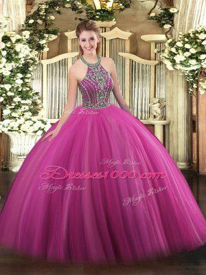 Extravagant Floor Length Hot Pink Sweet 16 Dress Tulle Sleeveless Beading