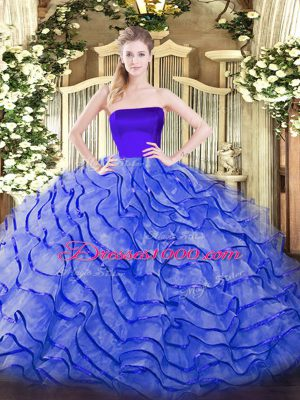 Fashion Sleeveless Ruffles Zipper Sweet 16 Dresses with Blue Brush Train