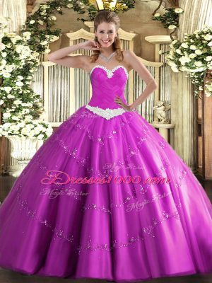 Unique Floor Length Fuchsia 15 Quinceanera Dress Tulle Sleeveless Appliques