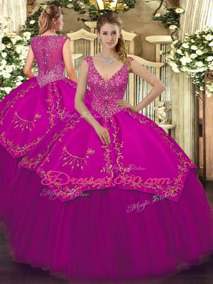 Clearance V-neck Sleeveless Zipper 15th Birthday Dress Fuchsia Taffeta and Tulle