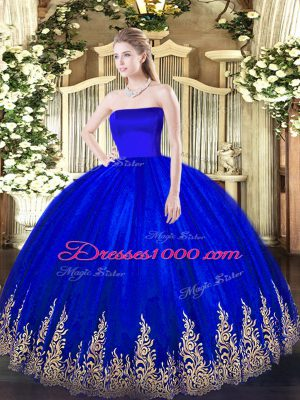 On Sale Blue Strapless Zipper Appliques Quinceanera Dresses Sleeveless