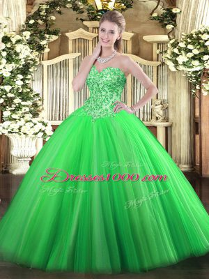 Affordable Sleeveless Lace Up Floor Length Appliques Ball Gown Prom Dress