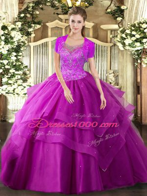 Perfect Floor Length Clasp Handle Ball Gown Prom Dress Fuchsia for Military Ball and Sweet 16 and Quinceanera with Beading and Ruffles