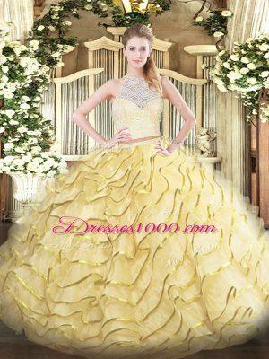 Gold Zipper Sweet 16 Dresses Lace and Ruffles Sleeveless Brush Train