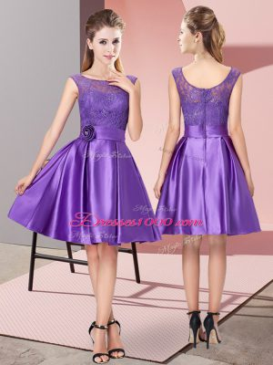 Charming Lace and Hand Made Flower Casual Dresses Purple Zipper Sleeveless Knee Length