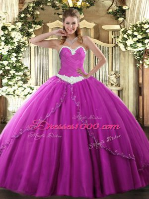 Custom Made Fuchsia 15 Quinceanera Dress Military Ball and Sweet 16 and Quinceanera with Appliques Sweetheart Sleeveless Brush Train Lace Up