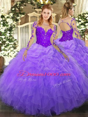 Floor Length Lavender Quinceanera Dress Organza Long Sleeves Lace and Ruffles