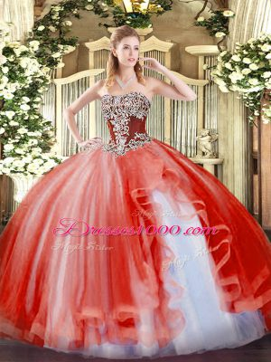 Strapless Sleeveless Sweet 16 Quinceanera Dress Floor Length Beading and Ruffles Coral Red Tulle
