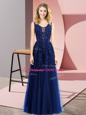 Spectacular Royal Blue Empire Beading and Appliques Party Dress for Girls Backless Tulle Sleeveless Floor Length