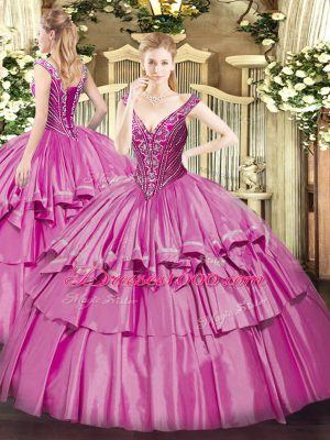 Lilac Ball Gowns V-neck Sleeveless Organza and Taffeta Floor Length Lace Up Beading and Ruffled Layers Quinceanera Dresses