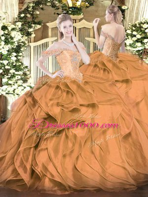 Custom Made Floor Length Brown Sweet 16 Quinceanera Dress Off The Shoulder Sleeveless Lace Up