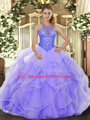 New Style High-neck Sleeveless Organza Quinceanera Dresses Beading and Ruffles Lace Up