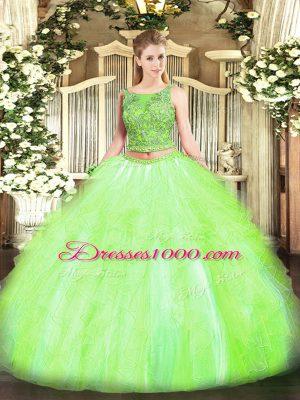 Floor Length Yellow Green Sweet 16 Dress Tulle Sleeveless Beading and Ruffles