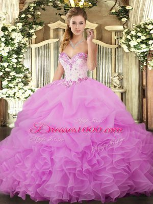Superior Sleeveless Organza Floor Length Lace Up 15 Quinceanera Dress in Lilac with Beading and Ruffles and Pick Ups