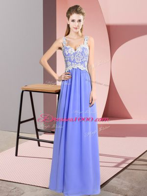 Custom Made Lavender Empire Lace Prom Party Dress Zipper Chiffon Sleeveless Floor Length