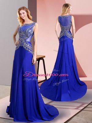 Royal Blue Scoop Neckline Beading Juniors Party Dress Sleeveless Side Zipper