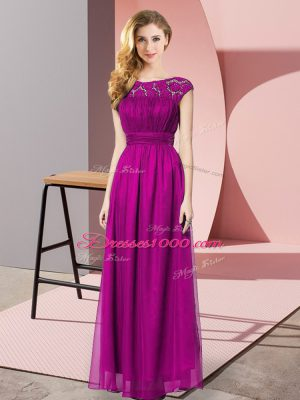 Fuchsia Empire Tulle Scoop Sleeveless Lace Floor Length Zipper Casual Dresses