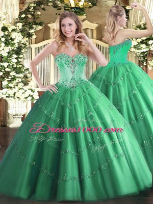 Luxurious Turquoise Sleeveless Floor Length Beading and Appliques Lace Up Quinceanera Gown