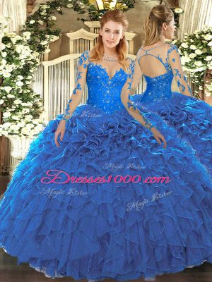 Hot Sale Blue Scoop Neckline Lace and Ruffles Quinceanera Gowns Long Sleeves Lace Up