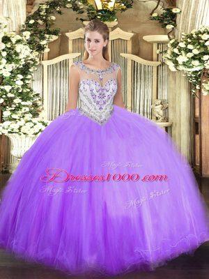 Nice Lavender Zipper Scoop Beading Quinceanera Dress Tulle Sleeveless