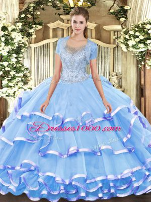 Suitable Aqua Blue Scoop Clasp Handle Beading and Ruffled Layers Vestidos de Quinceanera Sleeveless