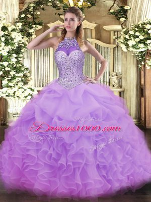 Fashionable Lavender Ball Gowns Organza Halter Top Sleeveless Beading and Ruffles and Pick Ups Floor Length Lace Up Quinceanera Dresses