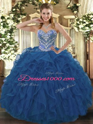 Unique Blue Ball Gowns Beading and Ruffled Layers Quinceanera Gown Lace Up Tulle Sleeveless Floor Length