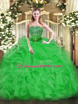 Green Organza Lace Up Strapless Sleeveless Floor Length Ball Gown Prom Dress Beading and Ruffles